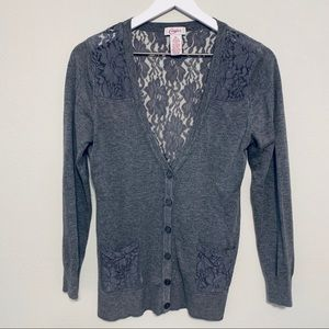 Candie's Gray Lace Cardigan